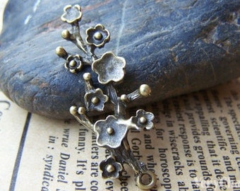 10 pcs Antique Bronze Chinese Plum Blossom Flower Charms Pendants 15x42mm A344
