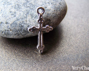 50 pcs of Tibetan Silver Antique Silver Cross Charms  11x21mm A872
