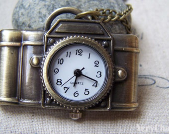 Camera Pocket Watch Antique Bronze Finish 30x43mm Set of 1  A5759