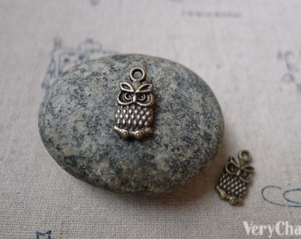20 pcs Antique Bronze Tiny Owl Charms Double Sided  7x12mm A6093