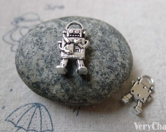 20 pcs of Antique Silver Lovely Robot Charms 9x17mm A6331