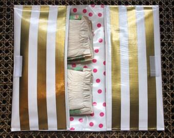 Diaper Clutch - Gold Stripe