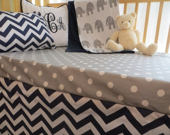 Elephants in Grey and Navy- Baby Bedding Set with Blanket, Sheet and Crib Skirt