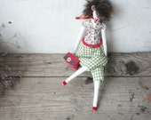 Tilda doll - coquette at the date. The girl in green trousers. Woman of fashion doll Tilde.