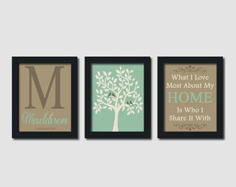 Custom Family Monogram Initial Bird Tree Quote Earth Tones Set of 3  Prints Housewarming Wedding Gift Anniversary Wall Art Decor Picture