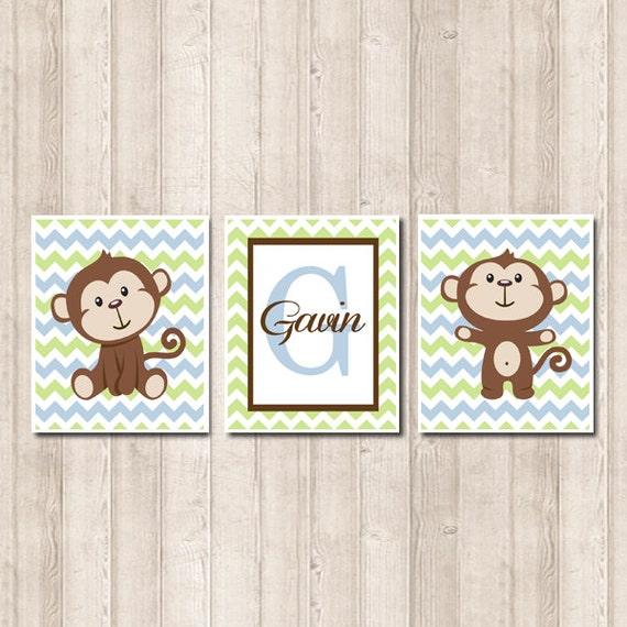 Wall art nursery etsy : Boy monkey nursery wall art personalized name by