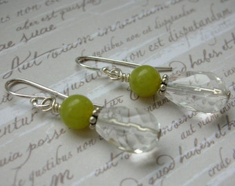 Sterling Silver Earrings - Jade and Clear Quartz