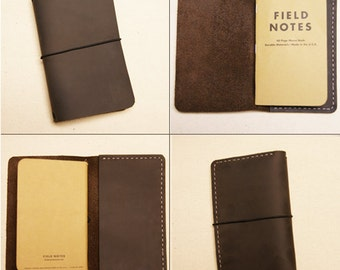 Leather Travel Notebook Cover with Interior Pocket