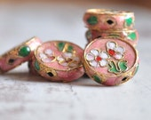 4 Pieces Enamel Cloisonne Jewelry Beads, Vintage Crafting Supplies, Jewelry Findings, Enamel Beads