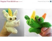 PATTERN- Crochet Dragon  and Unicorn Finger Puppet Toy Set, Kids Party Supplies, Teahing Tool, Soft Play Medieval Dragon,  Amigurumi Puppet