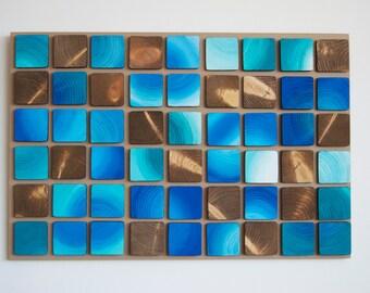 Reclaimed Wood Wall Art 'Blue windows' Original Modern Art,3D Wood Artwork, modern wall decor, modern textures,wood wall decor, abstract art