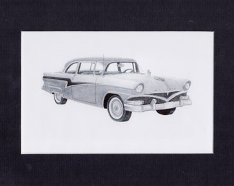 Car art pencil drawing of a 1956 Meteor