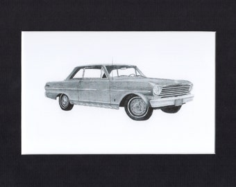 Car art drawing of a 1963 Chevy Nova