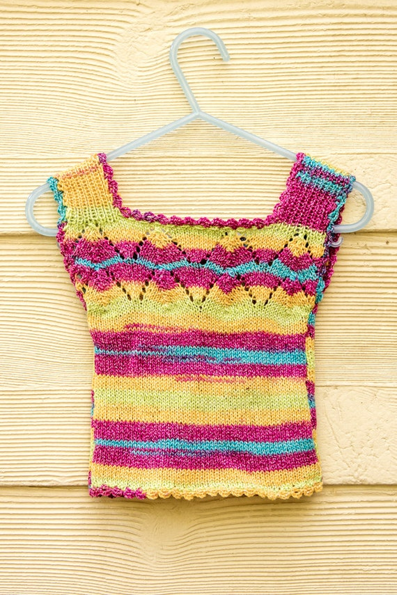 Knitting Pattern Vest Top : KNITTING PATTERN, Baby Vest, Baby Singlet Top, Baby Summer Vest , Lace Detail...