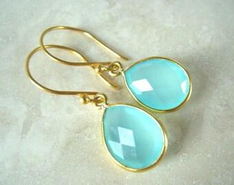 Aqua Chalcedony Drop Gold Earring, Dangle, Teardrop, Aqua Mint Chalcedony Earring,