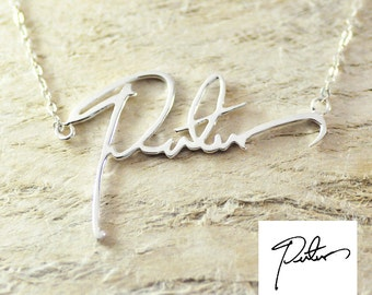 Handwriting necklace Signature necklace  your style 925 sterling  silver necklace  gift for mom valentine gift gifts for her