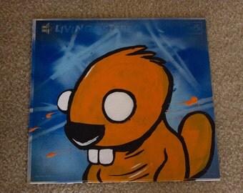 Orange Cartoon Beaver Acrylic Painting on Record Album