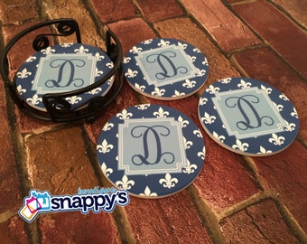 Personalized Sandstone Coaster Set - with Wrought Iron Rack