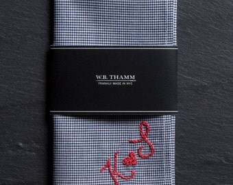 HEART sign + 2 Letters Custom Hand Embroidered Monogram - a pocket square is not included