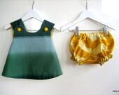 marimekko. newborn. teal. mustard yellow. reversible pinafore baby jumper & bloomers.