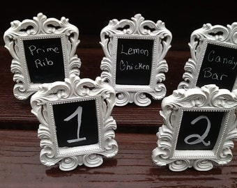 Set of 5 White or Black Mini Chalkboard Table Number Frames / Wedding Decor Formal Place Setting Buffet Line