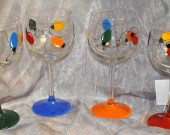 Hand Painted, Christmas Bulb wine glasses, set of 4