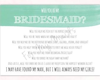 Will You Be My Bridesmaid Card - Bridesmaid Invitation - Bridesmaid Poem - Maid of Honor Card