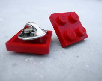 Pin made with LEGO Brick 2x2 - Red