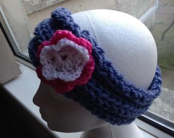 Flower Hair Band, Flower Head Band, Flower Ear Warmers, Blue Pink and White, Rib Hair Band, Rib Headband, Rib Ear Warmers, Yoga Head Band