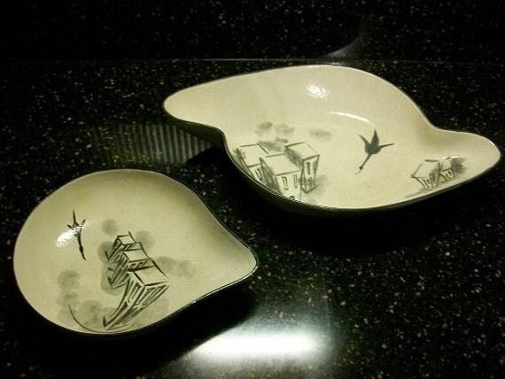 Mid Century Modern Southwestern Native Boomerang Art Pottery Nesting Bowls Peyote Bird Signed Fe'