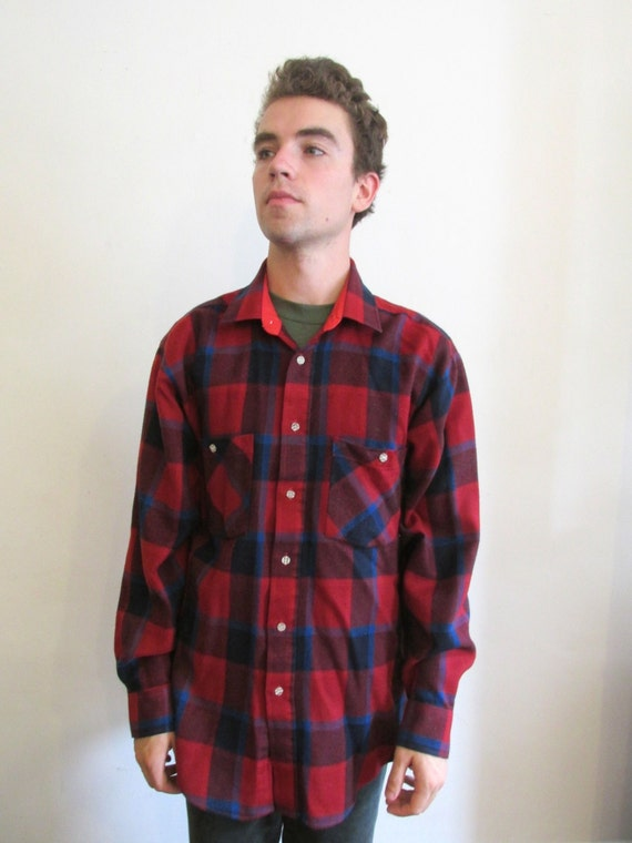 Mens Red And Blue Flannel Windsor Large