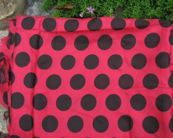 Vintage Polka Dot Lining Fabric -Raspberry  Red and Black