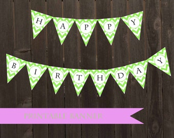Printable Lime Green Chevron Banner Pennant DIY Bunting Birthday Banner Baby Shower Decor Bunting Lime Green Party Decor