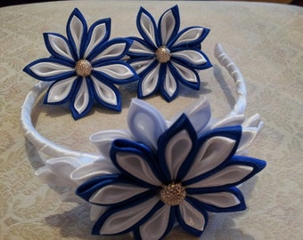 Headband and two scrunchy, oanges  kanzashi  flowers