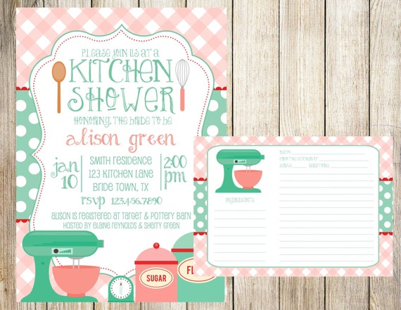 Kitchen Bridal Shower Invitation And Recipe Card By Emmyjosparties