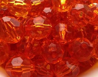 20mm Transparent Orange Facet Acrylic Chunky Necklace Beads