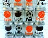 Mason Jar Party Favor, Sports Mason Jar, Eco Friendly Jar, Kid Party Favor, Birthday Party Favor, Sports Party Favor, Set of 12, Mason Jar