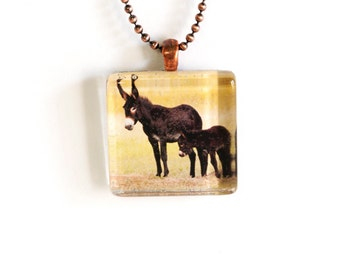 Mama and Baby Burro Photo Pendant Necklace - Photo Jewelry - Photo Necklace - Burro Necklace - 24 Inch Antique Copper Plated Ball Chain Incl
