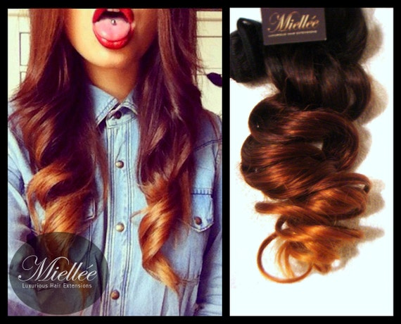 Clip In Hair Extensions / AUBURN OMBRE / Human Hair / by Miellee