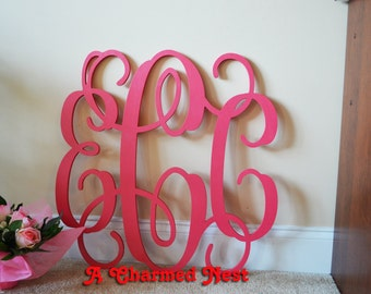 30 inch Unpainted  Wooden Monogram, Vine Connected Wood Monogram Letters - Wedding, Nursery, Home Decor