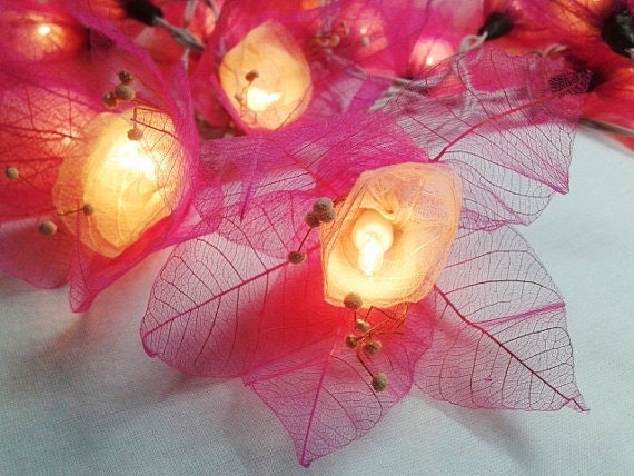 Pink String Lights For Bedroom : String Lights 20 Pink Tone Flower Leaves Fairy by fairylighting