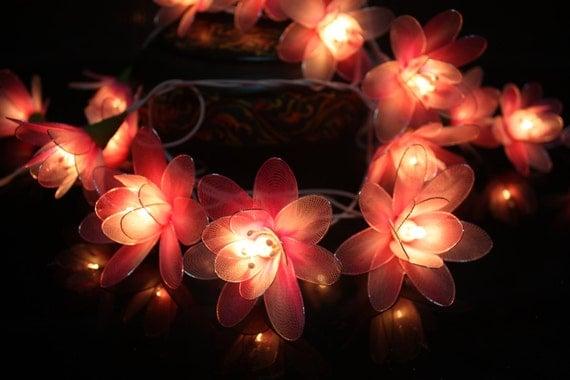 String Lights Flower Indoor : Fairy Lights 20 Pink Tone Flower String Lights by fairylighting