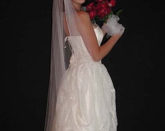 "Wedding veil- chapel length 75"" long - Satin coded/rattail edging"