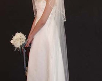 """Wedding veil 2 layer. Elbow length 30"""" and chapel length 75"""" long with Satin 1/8"""" rattail ribbon"""