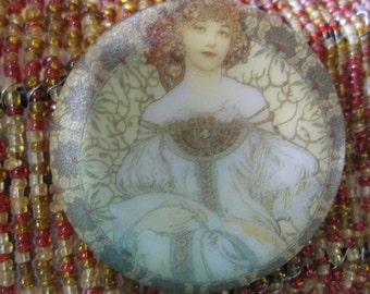 Alphonse Mucha Art Nouveau Lady in Blue Elegant Dress Czech Glass Button 42mm