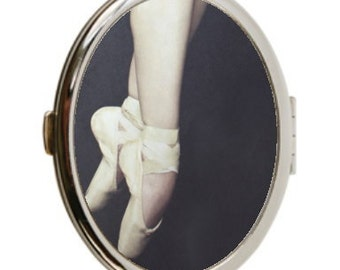 20% Off Sale Ready to Ship Ballerina Photo Compact Mirror, Pointe Shoes Compact Mirror, Ballet Compact Mirror, Double Sided Mirror