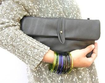 Classic Black Leather Clutch, Black Purse, Leather Crossbody Clutch, Bohemian Crossbody Bags, Evening Clutch, Italian Leather, Classic Style