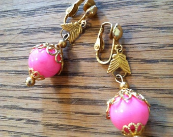 Pink and gold tone vintage earrings