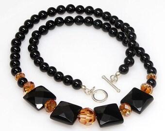 Black Onyx Gemstone Necklace, Handmade Necklace, Black, Gemstone Jewelry, Swarovski Crystal Necklace, Jewellery