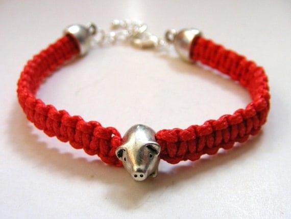 pig bracelet lucky pig macrame bracelet friendship